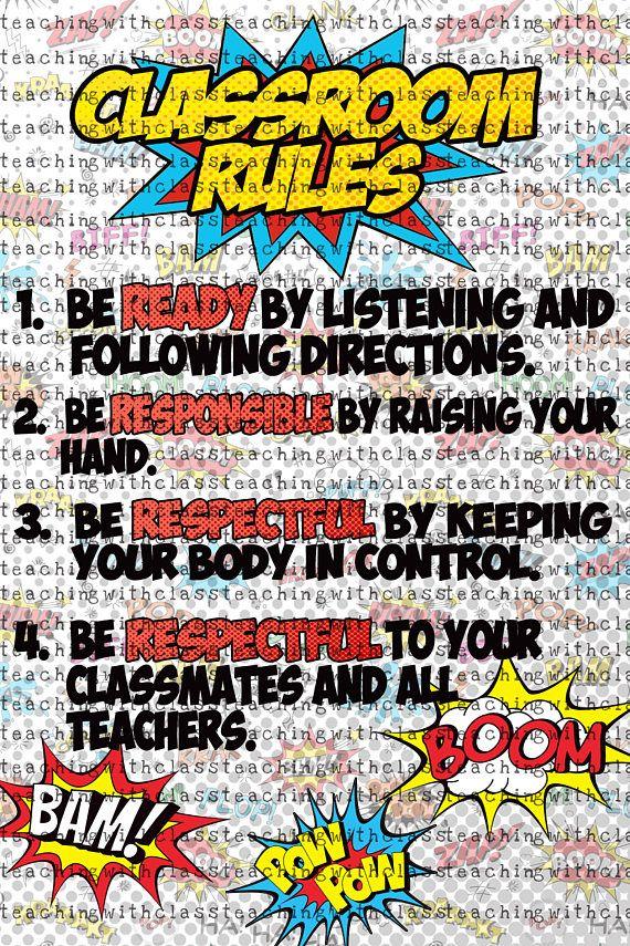 Superhero Classroom Rules