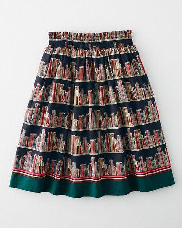 Lovely bookshelves skirt.