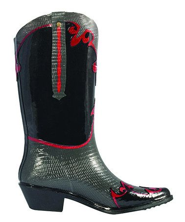 Take a look at this Slate Western Cowboy Rain Boot by däv on #zulily today!