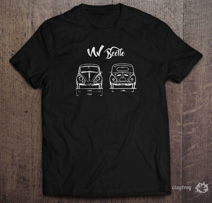 VW Beetle / Novelty Themed Mens Black T-Shirt by Clayfrogs on Etsy