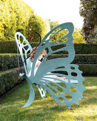 This is such an awesome example of yard art that really has a purpose! Butterfly Bench by CRICKET FORGE at Horchow.