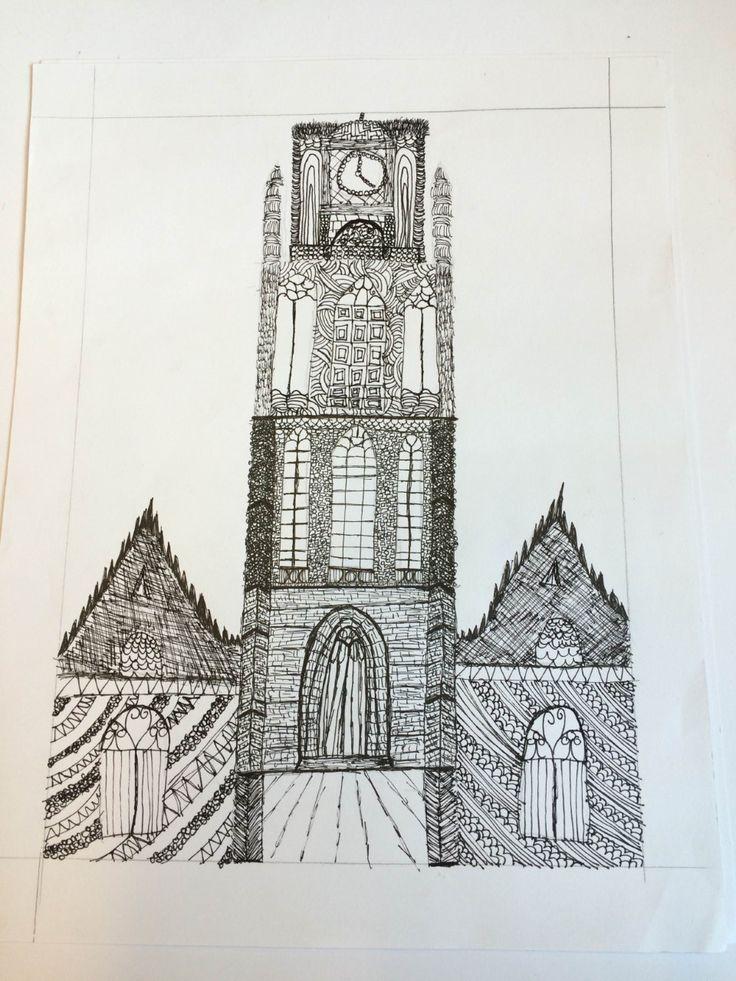 tek1 - doodle Laurens kerk Rotterdam