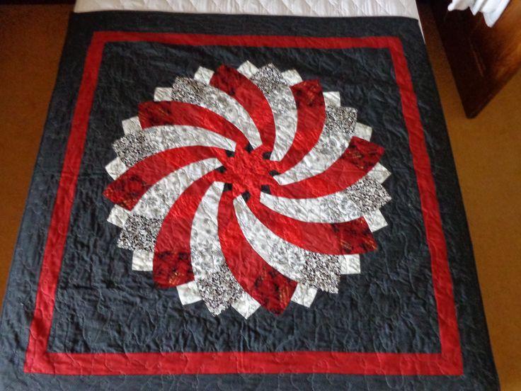 Not so giant dahlia lap quilt