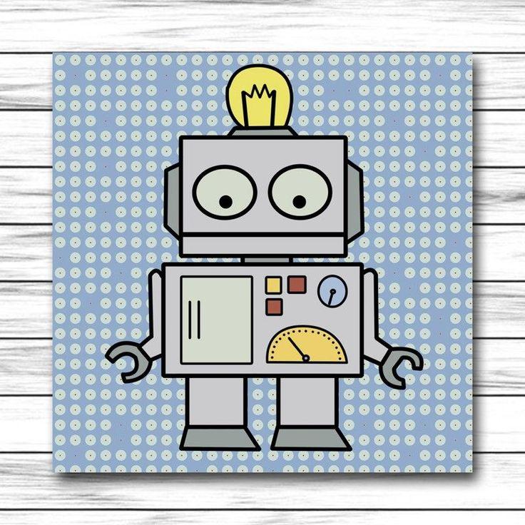 Cuadro infantil robot para decoraci n de habitaciones de - Cuadros para habitaciones de ninas ...