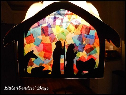 Stained Glass Nativity Scene.