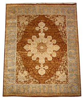 Luxurious  Indian Traditional Collection, finely knotted with the finest hand spun silk in Classical Tabriz Haj Jalili floral and medallion motif. Decorative soft colour Palette, luxurious silk texture.