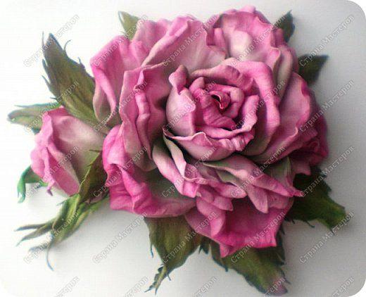 Украшение День рождения Свадьба Моделирование конструирование Роза Фоамиран Фоамиран фом фото 1