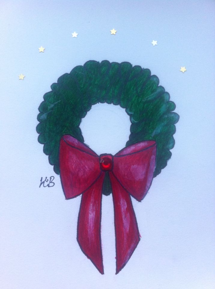 My christmas wreath. #art #christmas #drawing #kanisart #illustration