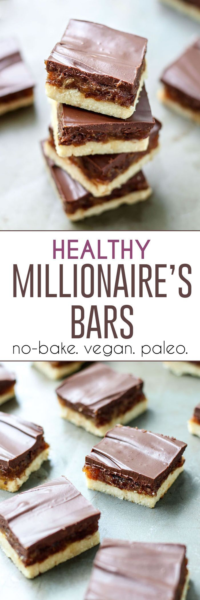 "Healthy, no-bake Millionaires Bars! Made vegan and paleo-friendly with a coconut flour base, date ""caramel"" for the middle, and melted chocolate for the top."