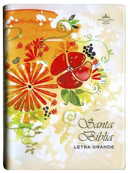 Biblia RVR042cLG - Vinil - Crema con flores