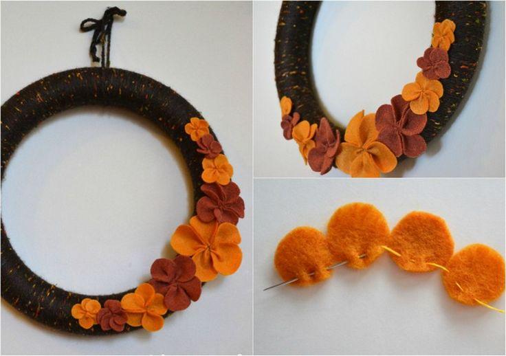 Blumen aus Filz nähen - Herbstkranz Idee