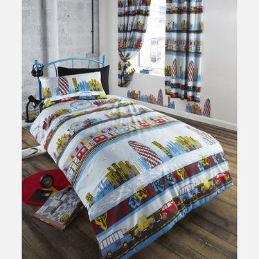 Inner City Curtains 72s - http://www.childrens-rooms.co.uk/inner-city-curtains-72s.html #london #landmarks #kidscurtains