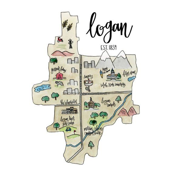 Logan Utah Watercolor Illustrated Map Free Shipping Logan