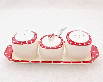 MidCentury Vintage Midwinter 'Red Domino' by Jessie Tait - Condiment set / Cruet Set - Salt & Pepper, Mustard pot on Tray