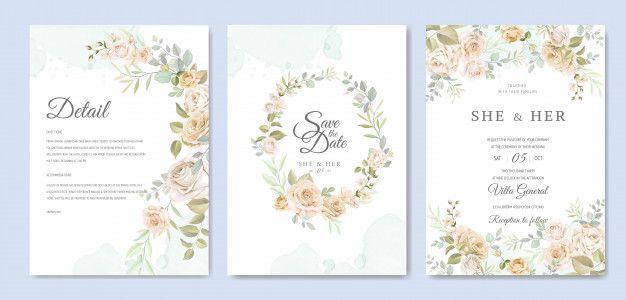 Modelo De Cartao De Convite De Casamento Lindo Quadro Floral Wedding Invitation Card Design Wedding Invitation Cards Wedding Cards