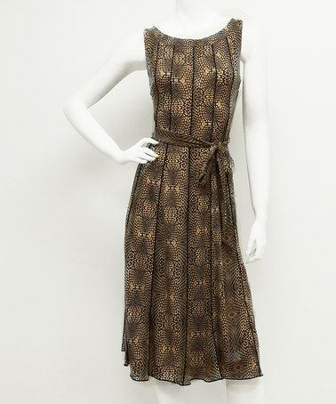 Another great find on #zulily! Brown Abstract Sleeveless Sash Dress #zulilyfinds