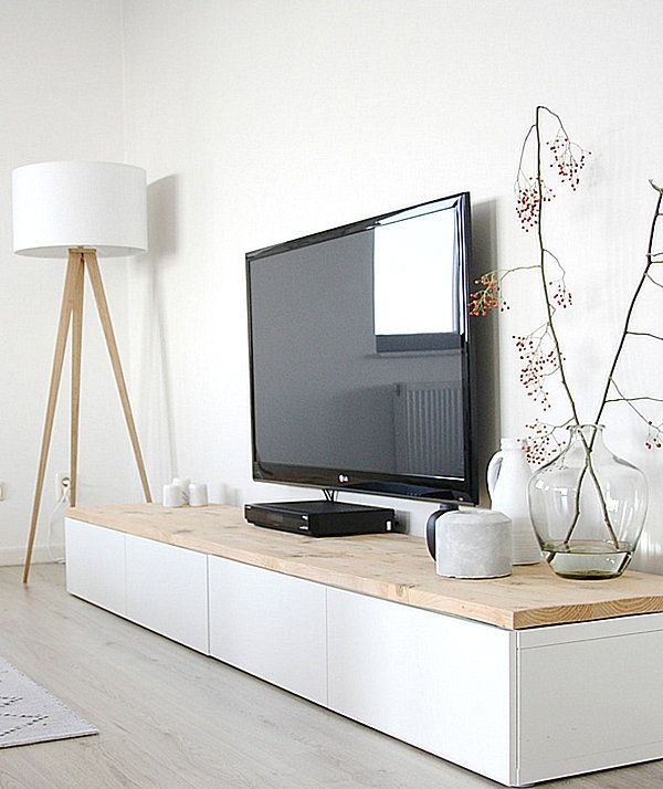 White media console with a wooden top Display Your Television On A Modern Media Console