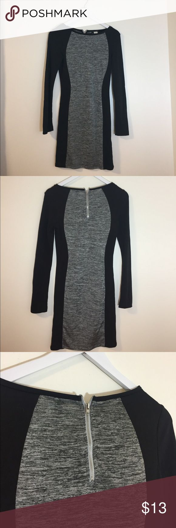 H&M Heather Grey and Black bodycon dress H&M Heather Grey and Black bodycon dress  Perfect little black and grey dress!  Business professional to going out!  Super flattering silhouette H&M Dresses Mini