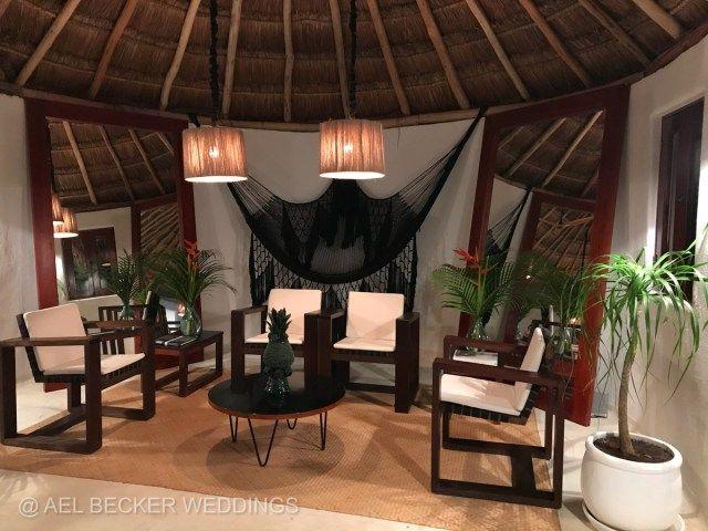 Check-in area at Hotel Esencia, Riviera Maya, Mexico. Ael Becker Weddings