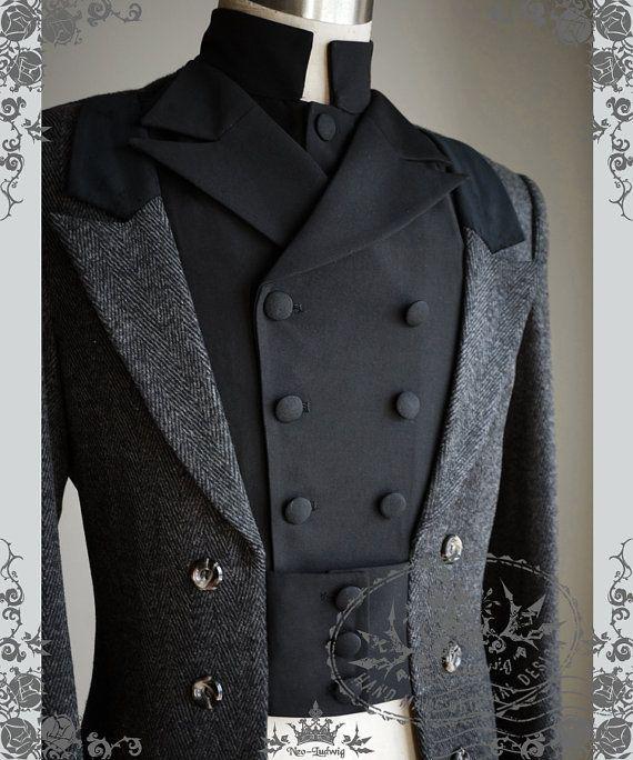 Gothic Elegant Aristocrat Victorian False 4pcs Wool Blend Tuxedo Long Coat for Man