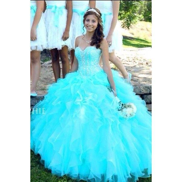 : dress jewels sparkle aqua prom dress long dress poofy ❤ liked on Polyvore featuring dresses, jewel dress, long dresses, blue prom dresses, aqua blue prom dresses and sparkly prom dresses