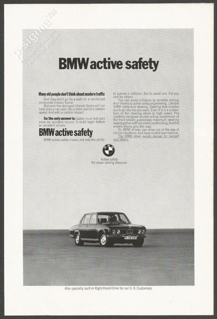 Bmw Active Safety 1972 Vintage Print Ad Automotive Pinterest