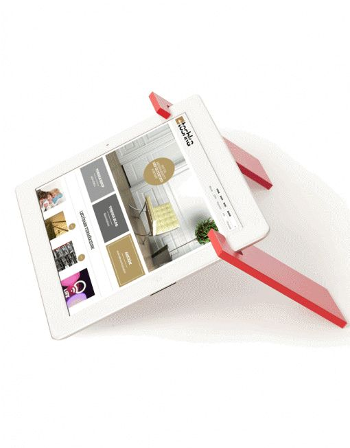 A stylish tablet holder solution.