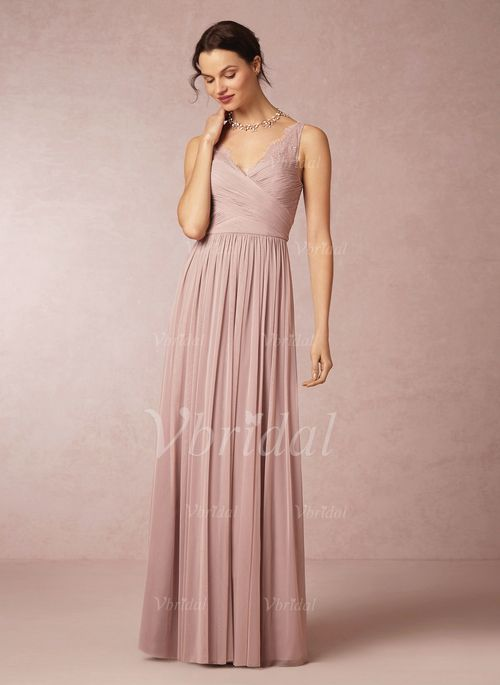Bridesmaid Dresses - $108.40 - A-Line/Princess V-neck Floor-Length Chiffon Bridesmaid Dress With Ruffle Lace (0075058655) NOT THIS COLOR but i like the look