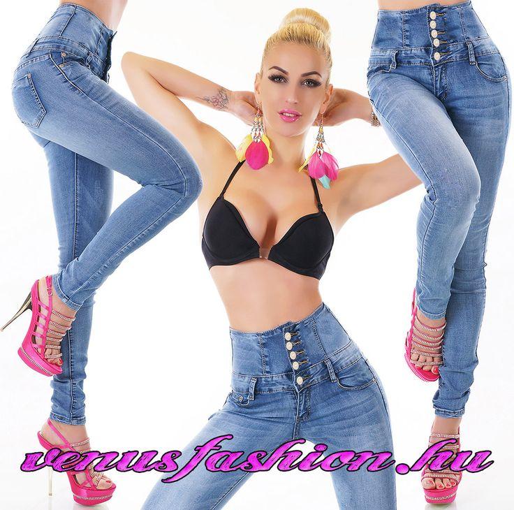Divatos női magas derekú farmer nadrág S M L XL méretekben - Venus fashion női ruha webáruház