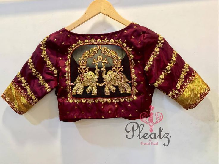 Maroon silk blouse design by Pleatz. More on the blog #Frugal2Fab