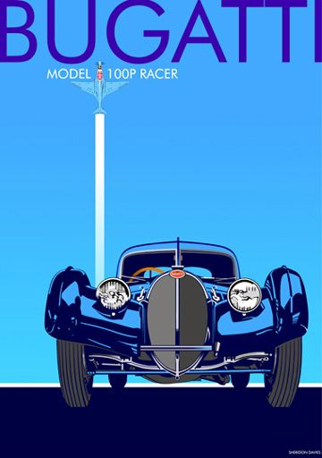 Bugatti 1930s art deco poster. Facing its admiring audience, it is unaware that the Bugatti model 100p racer is stealing the show!