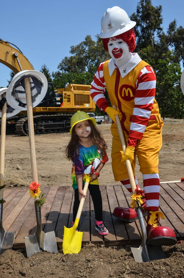 Ronald McDonald and a House resident break ground for our 52,000-square-foot expansion and renovation project.