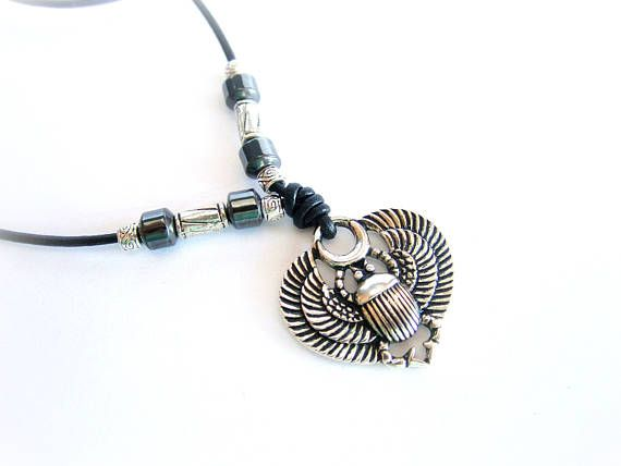 Scarab necklace leather mens pendant leather necklace