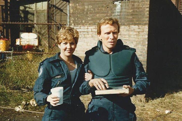 Nancy Allen & Peter Weller behind the scenes on #RoboCop (1987).