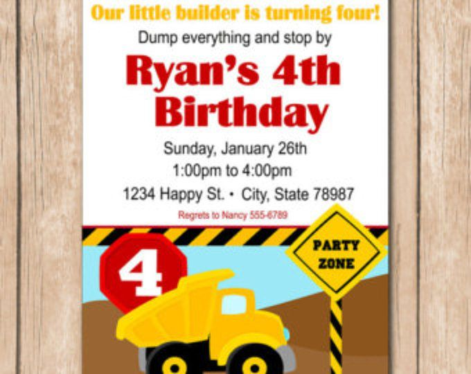 Descarga invitación de cumpleaños de carro - construcción - 1.00 cada archivo DIY impreso o 10.00