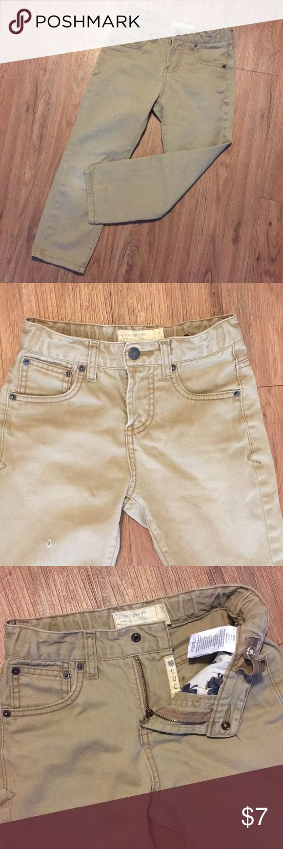 Boys Lucky Brand Khakis 7 Pants Slim Uniform Boys pants by Lucky Brand Tag size 7 Zipper fly snap closure adjustable waistbands. With a hole on right thigh.  Pre owned in good condition.   Bundle and save! Lucky Brand Bottoms Casual