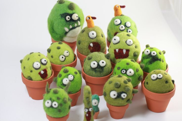 needle felting cactus monster kit (woolbuddy etsy store) - comes with material to make one 2-inch cactus