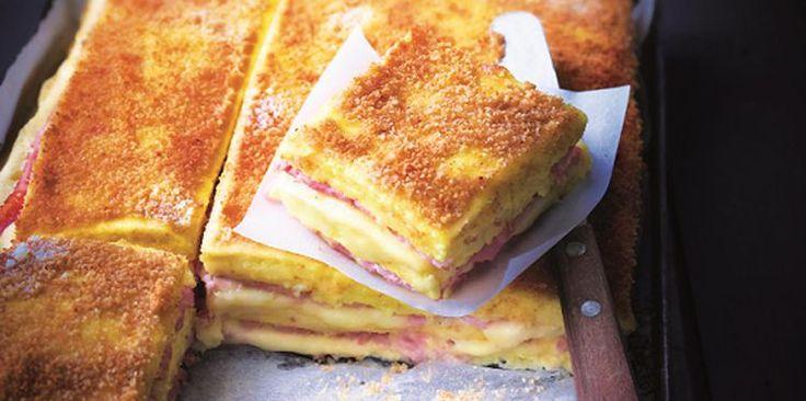 Croque-monsieur de polenta, jambon, fromage d'Eric Fréchon à accompagner d'une crème au parmesan