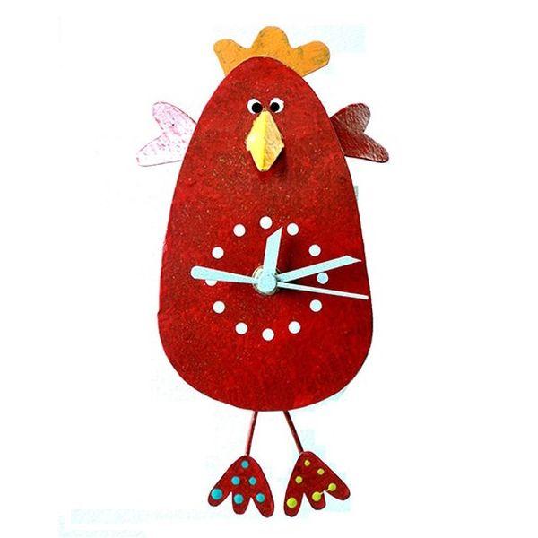 Oxidos Chicken Wall Clock - Red