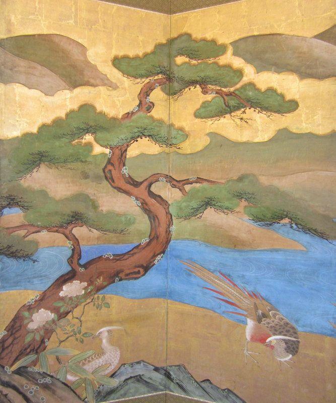 Japanese Antique Pair 6-Panel Screen with Bird Scenes