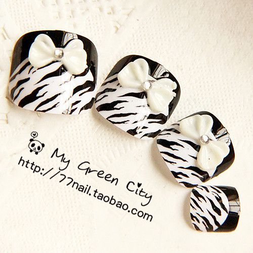 Aliexpress.com : Buy Classic black and white leopard print cute bow finger nail art false nail patch on Jessie's shop. $5.60