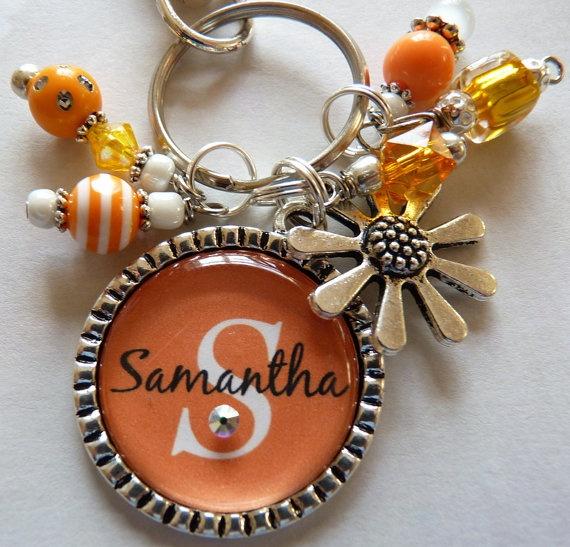Personalized Bottle Cap Keychain, orange and white, childrens name, grandma, nana, mom, gift, present, sister, aunt, christmas via Etsy