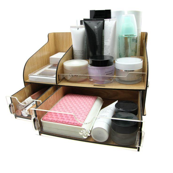 Acrylic Wooden Makeup Organizer / Diy Creative  Desktop Storage Box /  / Cosmetic drawer desktop storage box / Large storage box $66.00