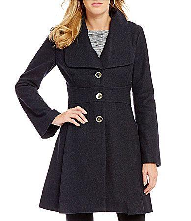 Jessica Simpson Wool Single Breasted Tabbed Waist Walker Coat #Dillards