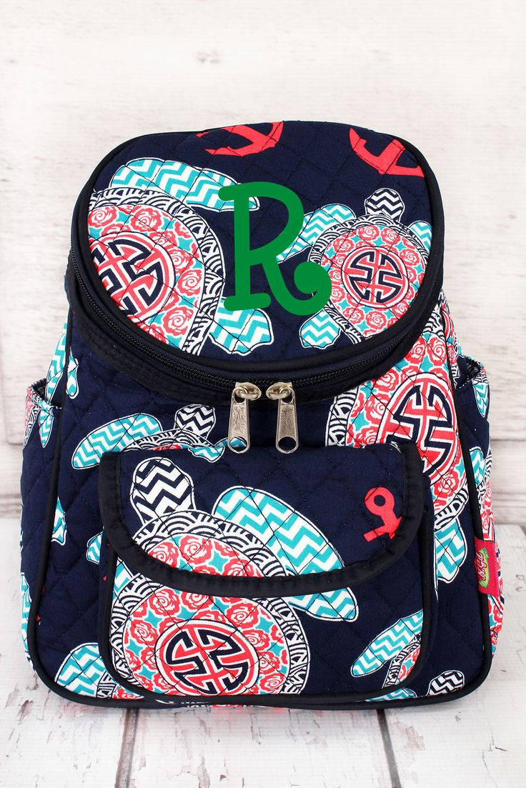Preppy Under the Sea Quilted Petite Backpack #TUL286-NAVY