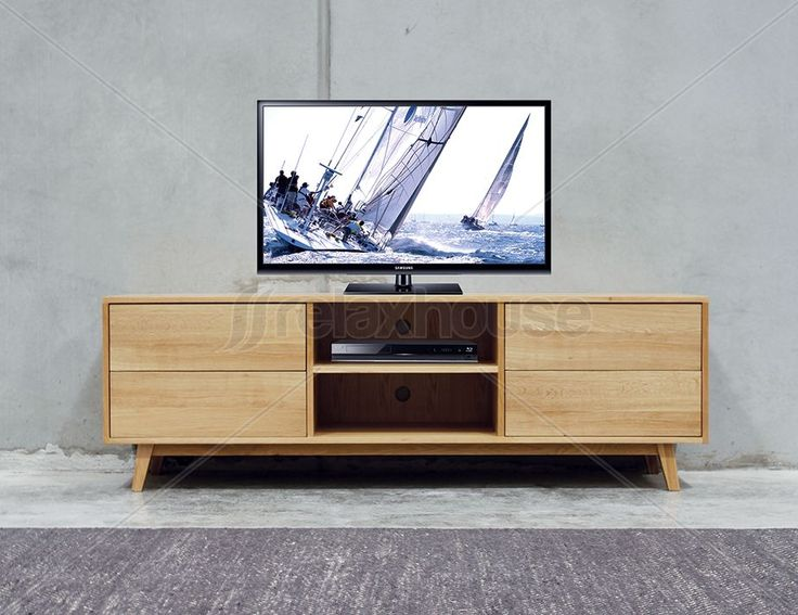 Copenhagen Solid Oak TV Cabinet 4 Drawers 2 Shelves
