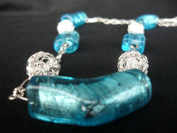 Collana azzurro turchese e argento in vetro siriano di BunnyJewel
