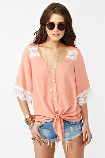 Love this. Getting this. Wish list!: Lace Ties, Blouses, Lego Cake, Celebrity Style, Style Mi, Wish Lists, Ties Tops, Summer Outfits, Peaches