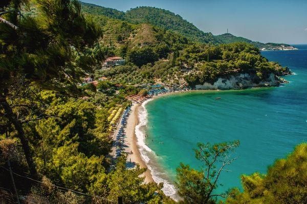 Fabulous beach of Tsamadou in Samos island