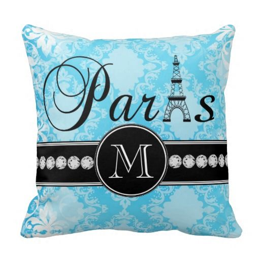 Girly Blue Vintage Damask Black Paris Monogram Throw Pillow Shops, Vintage and We
